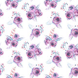 Seamless pattern with watercolor floral bouquets from purple roses Royalty Free Stock Image
