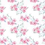 Seamless pattern with watercolor floral bouquets from tender pink flowers and leaves. Hand drawn on a white background Stock Photos