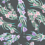 A seamless pattern with the watercolor floral elements: branches, flowers, leaves Stock Photos