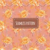 Seamless pattern watercolor floral orange soft stock illustration