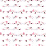 Seamless pattern with watercolor floral ornament from rose buds and other pink plants. Hand drawn on a white background Royalty Free Stock Photos