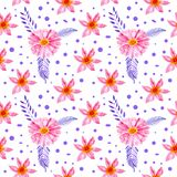 Seamless pattern watercolor floral pink flowers stock illustration
