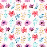 Seamless pattern watercolor floral red and purple flowers royalty free illustration