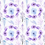 Seamless pattern watercolor floral soft blue and purple vector illustration