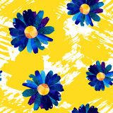 Seamless pattern with watercolor flowers. Stock Photo