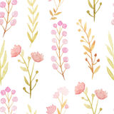 Seamless pattern with watercolor flowers and branches Stock Photo