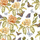 Seamless pattern with watercolor flowers and butterfly. Rose. Hand drawn Stock Images
