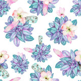 A seamless pattern with the watercolor flowers, feathers and succulents Stock Photos