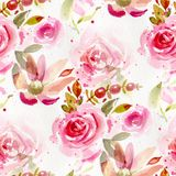 Seamless pattern with watercolor flowers. Hand-drawn illustration royalty free illustration