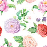 Seamless pattern with watercolor flowers Royalty Free Stock Photography