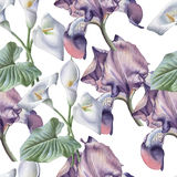 Seamless pattern with watercolor flowers. Stock Image