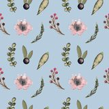 Seamless pattern with watercolor flowers, leaves, and berries.Spring and summer textiles royalty free illustration