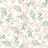 Seamless pattern with watercolor flowers, leaves and branches, wedding decoration Royalty Free Stock Photos