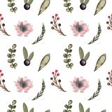 Seamless pattern watercolor with flowers and leaves stock photos