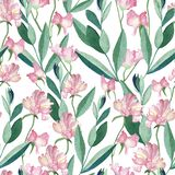 Seamless pattern with watercolor flowers and leaves stock illustration
