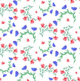 Seamless pattern with watercolor flowers and leaves Royalty Free Stock Photography