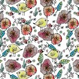 Seamless pattern watercolor flowers, paper Stock Image