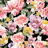 Seamless pattern with watercolor flowers. Peonies, anemone, citrus and roses. Royalty Free Stock Photos