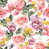 Seamless pattern with watercolor flowers. Peonies, anemone, citrus and roses. Royalty Free Stock Images