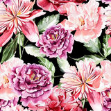 Seamless pattern with watercolor flowers.  Peonies. Royalty Free Stock Image