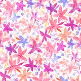 Seamless pattern with watercolor flowers. Stock Images