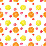 Seamless pattern with watercolor flowers and slices of lemon and orange Stock Photo