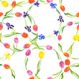 Seamless pattern with watercolor flowers Stock Images