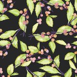 A seamless pattern with a watercolor forest berry branches and leaves Stock Images