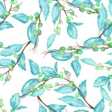 A seamless pattern with a watercolor forest berry branches and leaves. A seamless pattern with a forest berry branches and leaves, hand drawn in a watercolor on Royalty Free Stock Photo