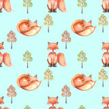 Seamless pattern with watercolor foxes and abstract trees Stock Images