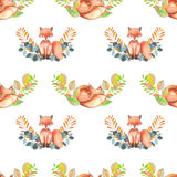 Seamless pattern with watercolor foxes and forest plants Royalty Free Stock Photography