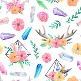 Seamless pattern with watercolor gems and flowers. Seamless pattern with bright hand painted watercolor crystals, horns, feathers, flowers and leaves. Romantic royalty free stock photos