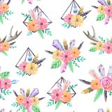 Seamless pattern with watercolor gems and flowers. Seamless pattern with bright hand painted watercolor crystals, horns, feathers, flowers and leaves. Romantic stock photography