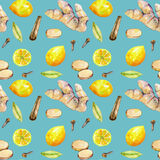 Seamless pattern with watercolor ginger, lemon and spices elements Stock Photo
