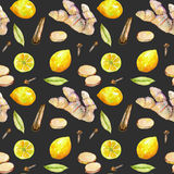 Seamless pattern with watercolor ginger, lemon and spices elements Royalty Free Stock Images