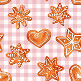 Seamless pattern of watercolor gingerbread cookies Royalty Free Stock Photo
