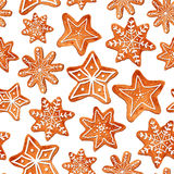 Seamless pattern of watercolor gingerbread cookies Stock Photography