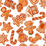 Seamless pattern of watercolor gingerbread cookies stock illustration