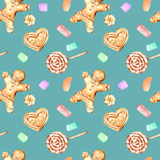 Seamless pattern with watercolor gingerbreads and marshmallow. Hand drawn isolated on a dark blue background Royalty Free Stock Photos