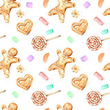 Seamless pattern with watercolor gingerbreads and marshmallow. Hand drawn isolated on a white background Stock Photos