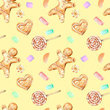 Seamless pattern with watercolor gingerbreads and marshmallow. Hand drawn isolated on a yellow background Stock Photography