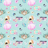 Seamless pattern with watercolor Girl-photographer, retro cameras and floral elements. Hand painted isolated on a blue background Stock Photos