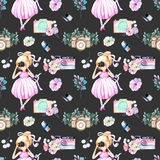 Seamless pattern with watercolor Girl-photographer, retro cameras and floral elements. Hand painted isolated on a dark background Royalty Free Stock Image