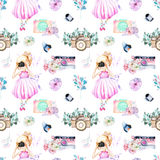 Seamless pattern with watercolor Girl-photographer, retro cameras and floral elements. Hand painted isolated on a white background Royalty Free Stock Photos