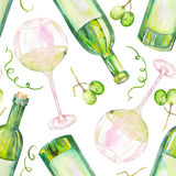 A seamless pattern with the watercolor glasses of white wine, wine bottles and green grape. Painted hand-drawn in a watercolor on Stock Image