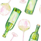 A seamless pattern with the watercolor glasses of white wine, wine bottles and green grape. Painted hand-drawn in a watercolor on Royalty Free Stock Photo