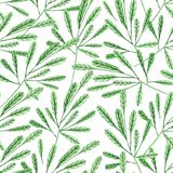 Seamless pattern with watercolor green branches vector illustration