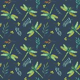 Seamless pattern with watercolor green dragonflies and branches Royalty Free Stock Photos