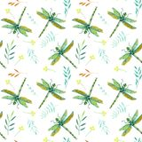 Seamless pattern with watercolor green dragonflies and branches Stock Photos