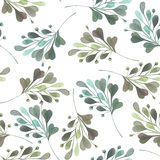 Seamless pattern with the watercolor green leaves and branches on a white background, hand drawn in a pastel. Seamless pattern with the watercolor green leaves Vector Illustration